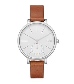 Skagen Denmark Women's Hagen Watch in Silvertone With Brown Leather Strap