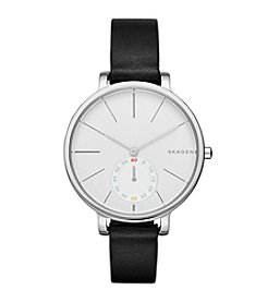 Skagen Denmark Women's Hagen Watch in Silvertone With Black Leather Strap