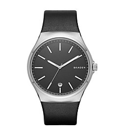Skagen Denmark Men's Sundby Watch in Silvertone With Black Leather Strap And Black Dial