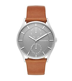 Skagen Denmark Men's Holst Watch in Silvertone With Brown Leather Strap And Gray Dial