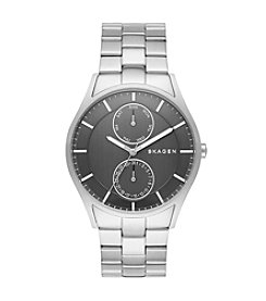 Skagen Denmark Men's Holst Watch in Silvertone With Link Bracelet And Charcoal Dial