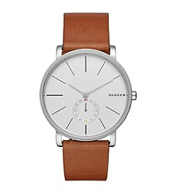 Skagen Denmark Men's Hagen Watch in Silvertone With Brown Leather Strap