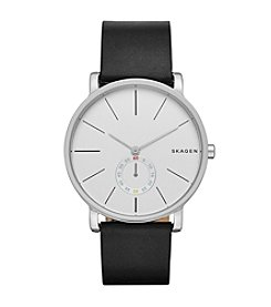 Skagen Denmark Men's Hagen Watch in Silvertone With Black Leather Strap