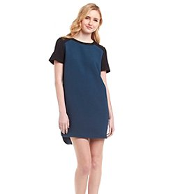 Kensie® Textured Dot Dress With Mesh Yoke