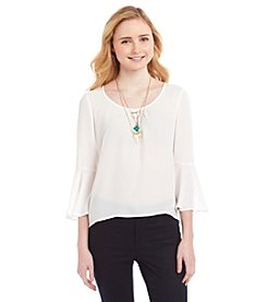 Sequin Hearts® Bell Sleeve Top