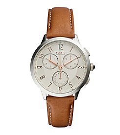 Fossil® Women's Silvertone Abilene Watch with Light Brown Leather Strap