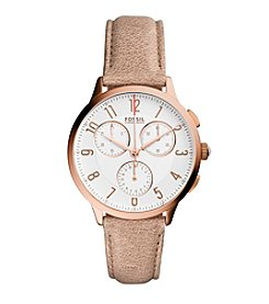 Fossil® Women's Abilene Rose Goldtone Watch with Tan Leather Strap