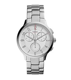 Fossil® Women's Silvertone Abilene Watch with Link Bracelet
