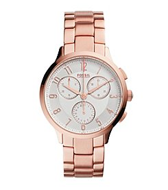 Fossil® Women's Rose Goldtone Abilene Watch with Link Bracelet