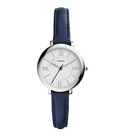 Fossil® Women's Silvertone Jacqueline Watch with Blue Leather Strap