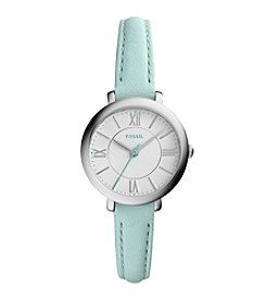 Fossil® Women's Silvertone Jacqueline Watch with Green Leather Strap
