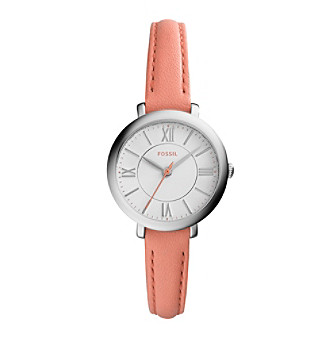 Fossil® Women's Silvertone Jacqueline Watch with Pink Le