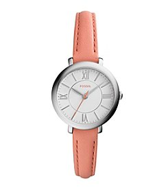 Fossil® Women's Silvertone Jacqueline Watch with Pink Leather Strap