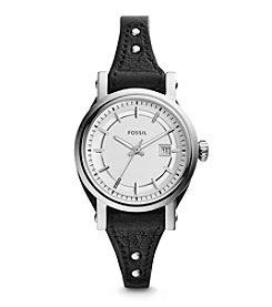 Fossil® Small Women's Silvertone Jacqueline Watch with Bone Leather Strap