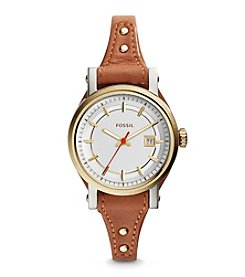 Fossil® Small Women's Two-Tone Original Boyfriend Watch with Light Brown Leather Strap
