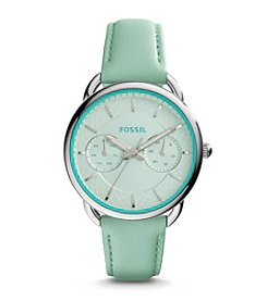 Fossil® Women's Silvertone Tailor Watch with Green Leather Strap