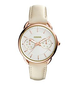 Fossil® Women's Goldtone Tailor Watch with Bone Leather Strap