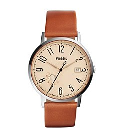 Fossil® Women's Silvertone Vintage Muse Watch with Light Brown Leather Strap