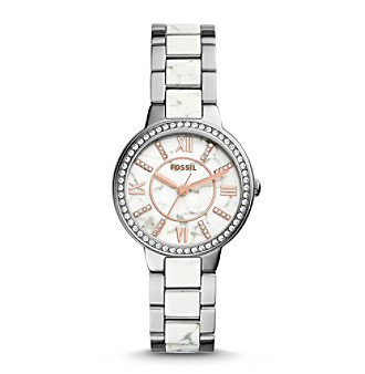 Fossil® Women's Silvertone Virginia Watch with Link