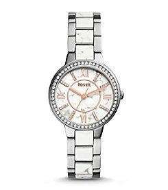 Fossil® Women's Silvertone Virginia Watch with Link Bracelet