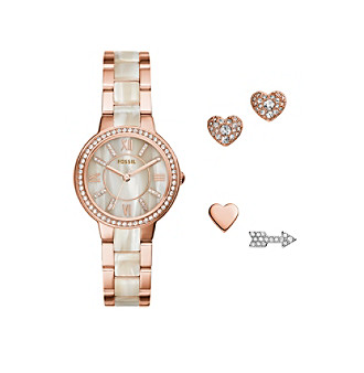 Fossil Women's Rose Goldtone Virginia Watch Set With Link Br