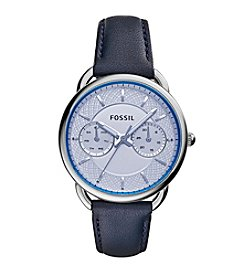 Fossil® Women's Silvertone Tailor Watch with Blue Leather Strap
