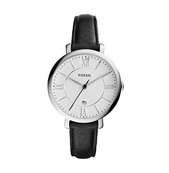 Fossil® Women's Silvertone Jacqueline Watch with Black L