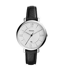 Fossil® Women's Silvertone Jacqueline Watch with Black Leather Strap