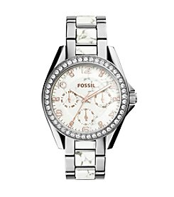 Fossil® Women's Silvertone Riley Multifunction Stianless Steel Watch