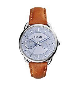 Fossil® Women's Silvertone Tailor Watch with Light Brown Leather Strap