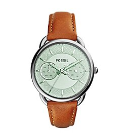 Fossil® Women's Silvertone Tailor Watch with Brown Strap