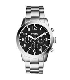 Fossil® Men's Silvertone Pilot Watch with Link Bracelet