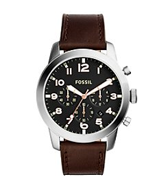 Fossil® Men's Silvertone Pilot Watch with Dark Brown Strap