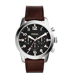Fossil® Men's Silvertone Pilot Watch with Dark Brown Strap