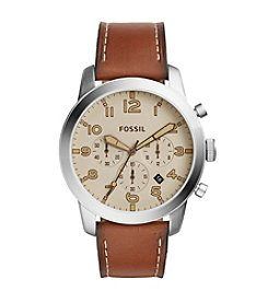 Fossil® Men's Silvertone Pilot Watch with Light Brown Strap