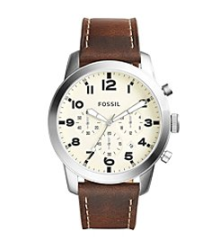 Fossil® Men's Silvertone Pilot Watch with Brown Strap