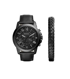 Fossil Men's Grant Watch Boxset In Black