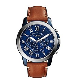 Fossil® Men's Grant Blue and Silvertone Watch with Light Brown Strap