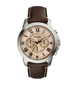 Fossil® Men's Silvertone Grant Watch with Brown Leather Strap and Amber Dial