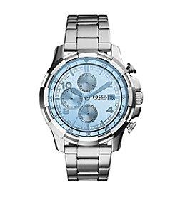 Fossil® Men's Silvertone Dean Watch with Link Bracelet