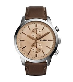 Fossil® Men's Silvertone Townsman with Brown Leather Strap