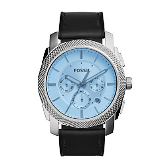 Fossil® Men's Silvertone Machine Watch with Black Leathe