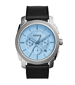 Fossil® Men's Silvertone Machine Watch with Black Leather Strap