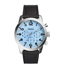 Fossil® Men's Black Pilot Watch with Black Leather Strap
