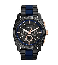 Fossil® Men's Black Machine Watch with Link Bracelet