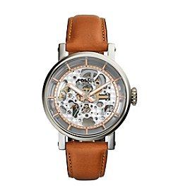 Fossil® Women's Silvertone Boyfriend Watch with Light Brown Leather Strap