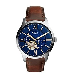 Fossil® Men's Silvertone Townsman Watch with Brown Leather Strap