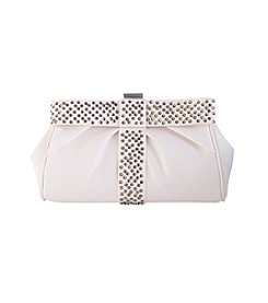 La Regale® Satin Beaded Bow Clutch