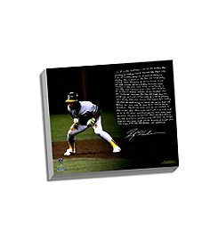 Rickey Henderson Facsimile World Series Earthquake Story Stretched 16x20 Canvas