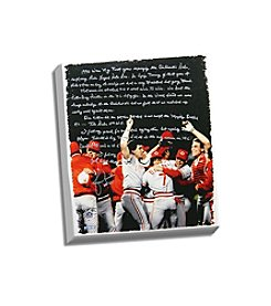 Lou Piniella Facsimile Reds World Series Story Stretched 16x20 Story Canvas